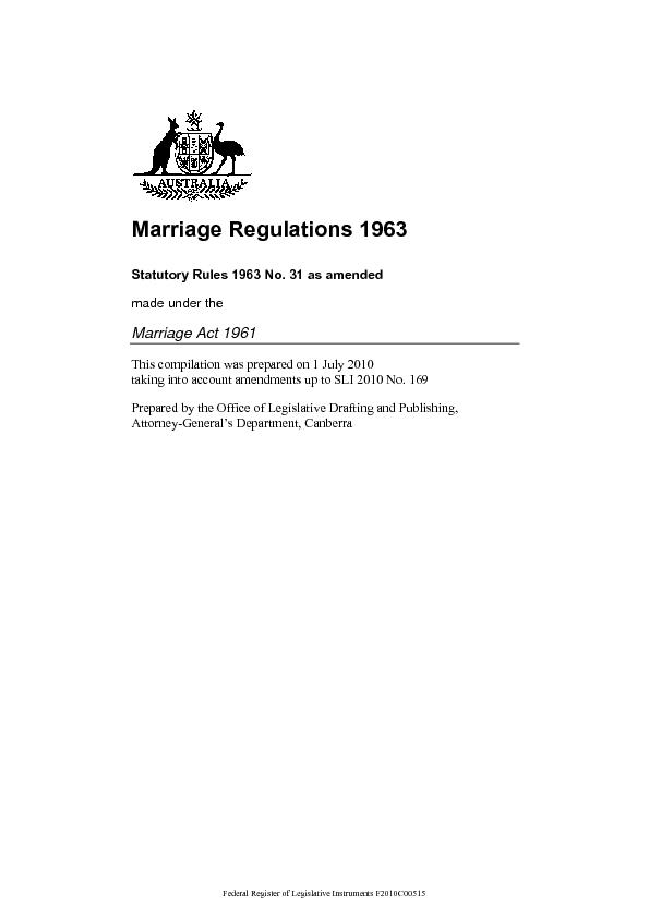 Marriage Regulations 1963 Statutory Rules 1963 No. 31 as amended  ...