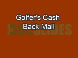 Golfer's Cash Back Mall