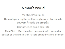 A man's world PowerPoint PPT Presentation