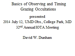 Basics of Observing and Timing Grazing Occultations PowerPoint PPT Presentation