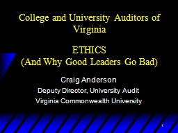 1 College and University Auditors of Virginia