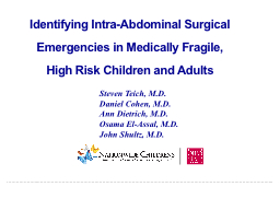 Identifying Intra-Abdominal Surgical Emergencies in Medical
