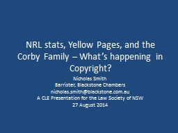 NRL stats, Yellow Pages, and the Corby Family – What's