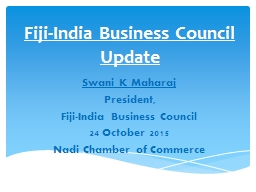 Fiji-India Business Council Update