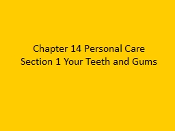 Chapter 14 Personal Care
