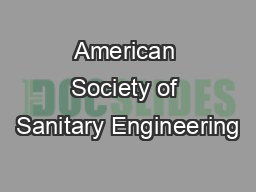 American Society of Sanitary Engineering PowerPoint PPT Presentation