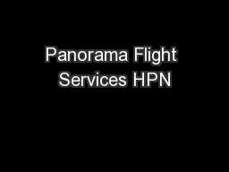 Panorama Flight Services HPN