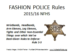 FASHION POLICE Rules