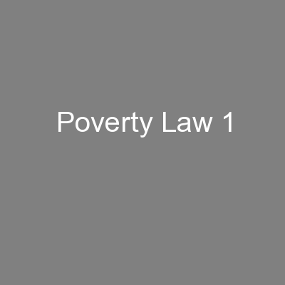 Poverty Law 1