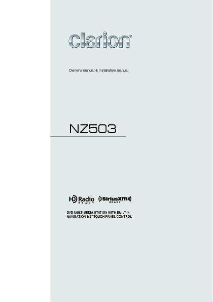NZ503Owner's manual & Installation manual