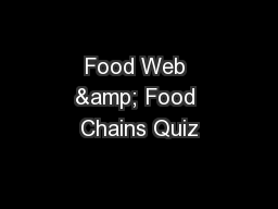 Food Web & Food Chains Quiz