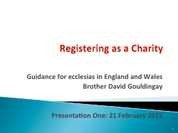 Registering as a Charity