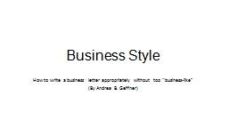 Business Style PowerPoint PPT Presentation