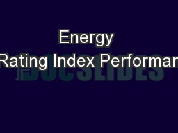 Energy Rating Index Performan