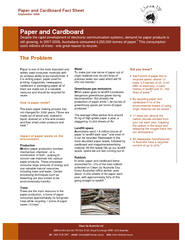 Paper and Cardboard Fact Sheet September  Clean Up Australia Limited ABN     Cl