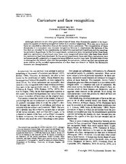 Memory Cognition     Caricature and face recognition ROBERT MAURO University of
