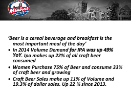 'Beer is a cereal beverage and breakfast is the most impo