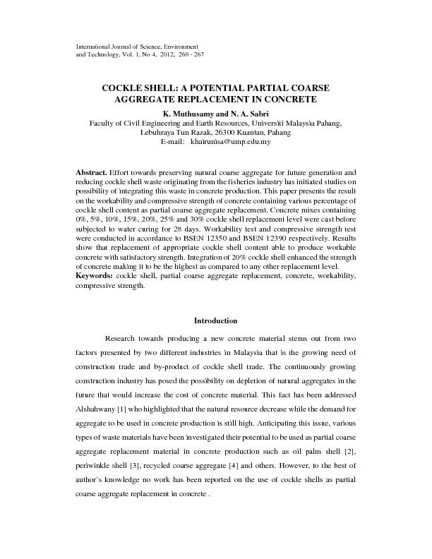 COCKLE SHELL: A POTENTIAL PARTIAL COARSE AGGREGATE REPLACEMENT IN CONC