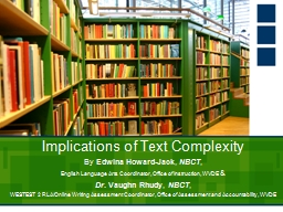 Implications of Text Complexity PowerPoint PPT Presentation