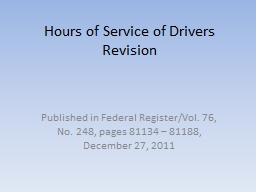 Hours of Service of Drivers Revision