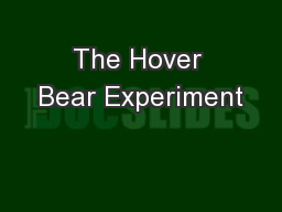 The Hover Bear Experiment