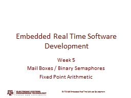 Embedded Real Time Software Development