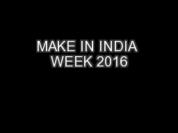 MAKE IN INDIA WEEK 2016