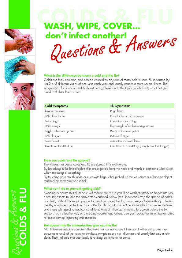 COLDS & FLUdon't infect another!WASH, WIPE, COVER...What is the d