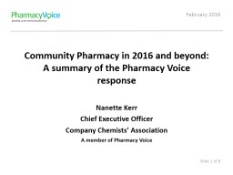 Community Pharmacy in 2016 and beyond: