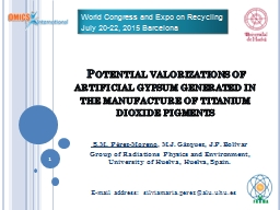 Potential valorizations of artificial gypsum generated in PowerPoint PPT Presentation