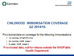 Provisional data on coverage for the following immunisation