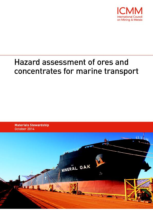 Hazard assessment of ores andconcentrates for marine transport ...