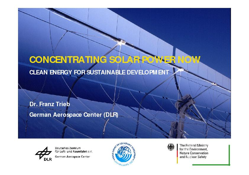 CONCENTRATING SOLAR POWER NOWCLEAN ENERGY FOR SUSTAINABLE DEVELOPMENTD