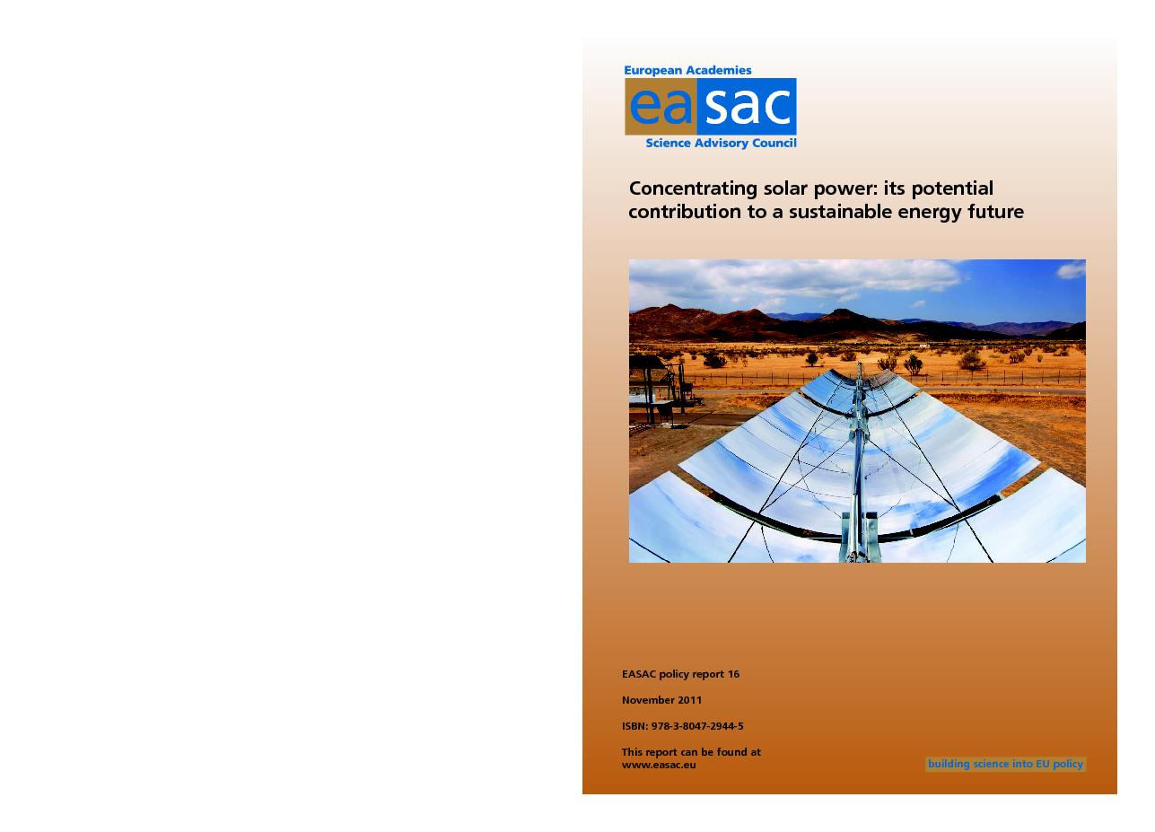 Concentrating solar power: its potential contribution to a sustainable