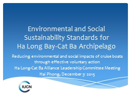 Environmental and Social Sustainability Standards for