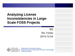 Detection of License Inconsistencies in Free and Open Sourc PowerPoint PPT Presentation