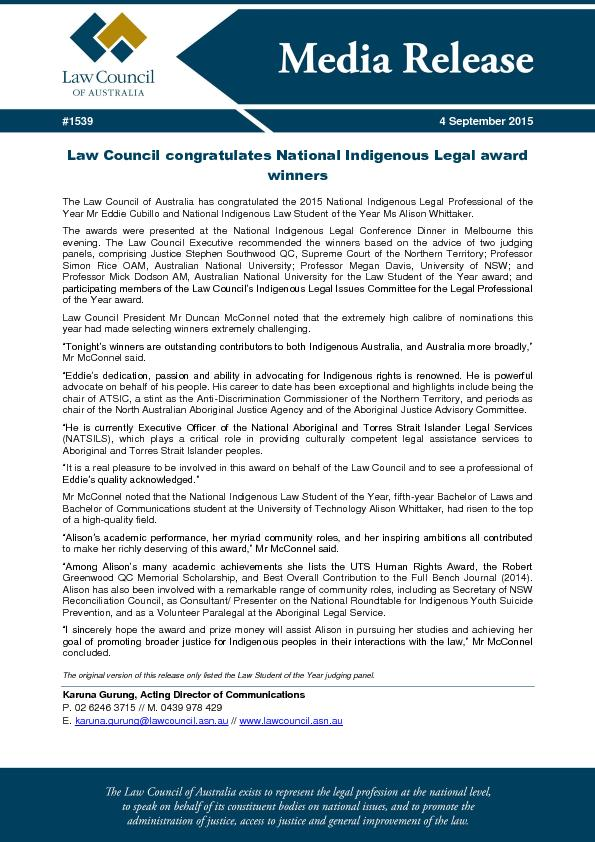 Law Council congratulates National Indigenous Legal award PowerPoint PPT Presentation