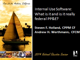 Internal Use Software: What is it and is it really federal PowerPoint PPT Presentation