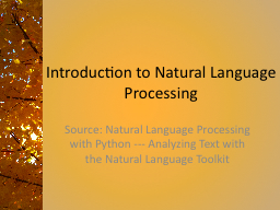 Introduction to Natural Language Processing PowerPoint Presentation, PPT - DocSlides