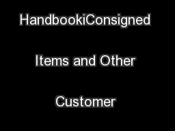 Comptroller's HandbookiConsigned Items and Other Customer Services ... PowerPoint PPT Presentation