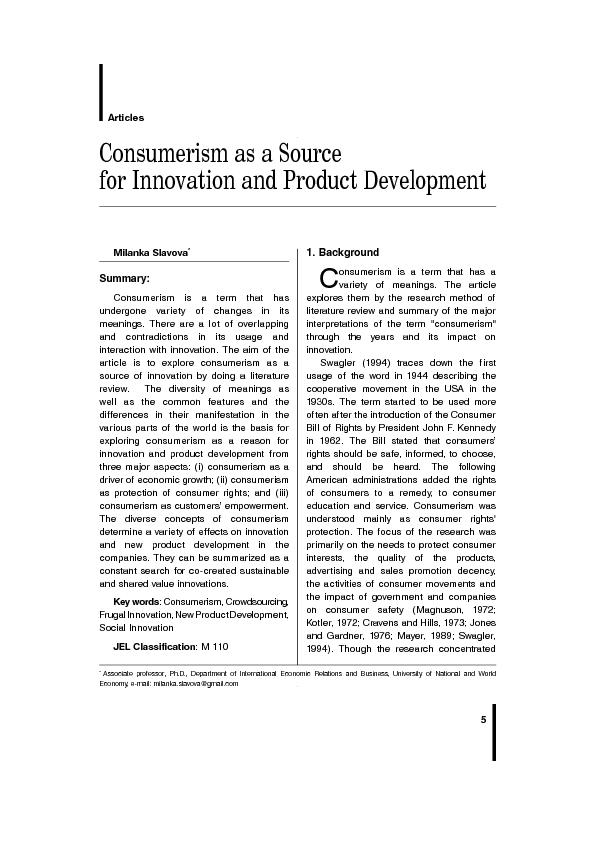 Consumerism as a Source for Innovation and Product Development ...
