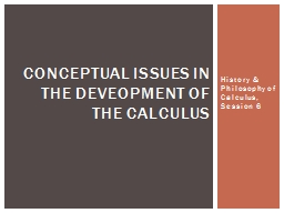 History & Philosophy of Calculus, Session