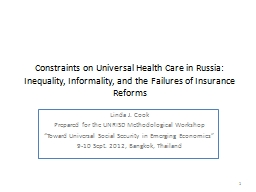Constraints on Universal Health Care in Russia: Inequality,