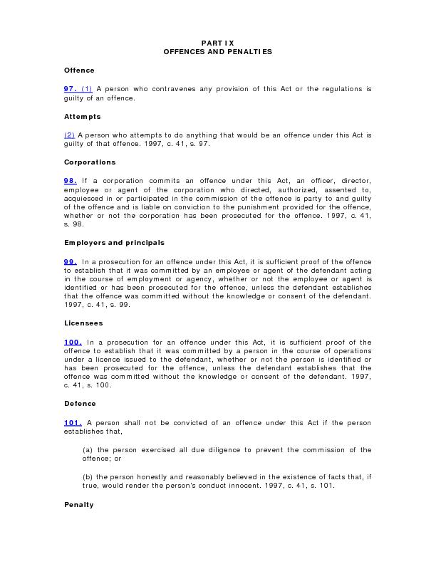 PART IX OFFENCES AND PENALTIES(1)