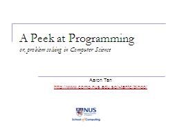 A Peek at Programming PowerPoint PPT Presentation