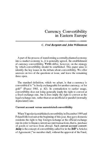 Currency Convertibility Eastern Europe