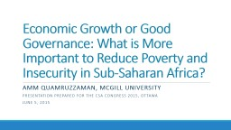 Economic Growth or Good Governance: PowerPoint PPT Presentation