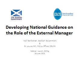 Developing National Guidance on the Role of the External Ma
