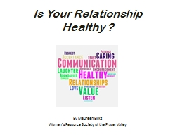 Is Your Relationship Healthy ? PowerPoint PPT Presentation