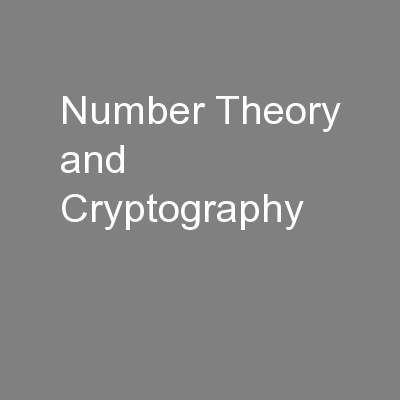 Number Theory and Cryptography